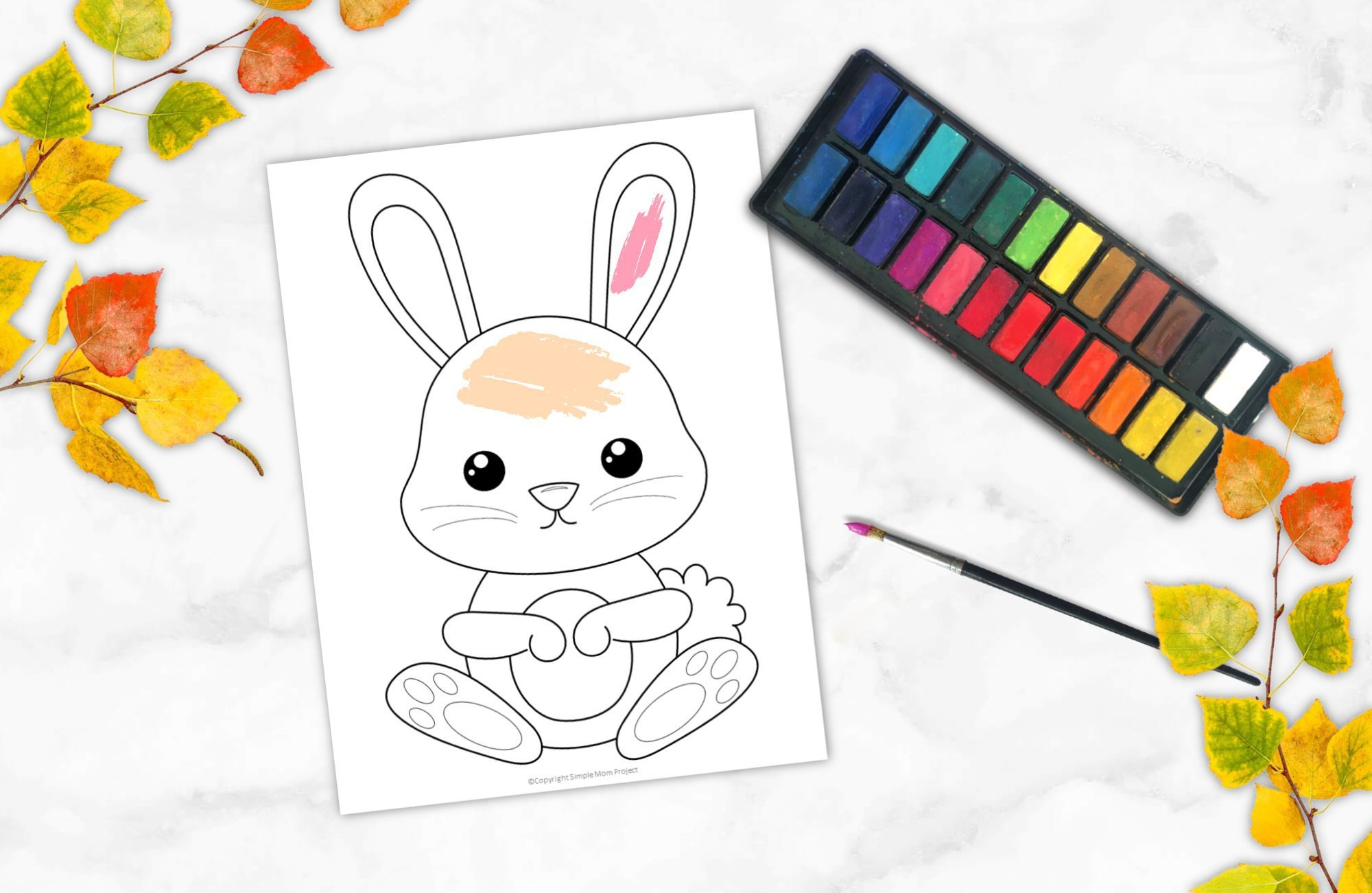 Free Printable Woodland Forest Rabbit Coloring Page for Kids Preschoolers Toddlers and kindergartners