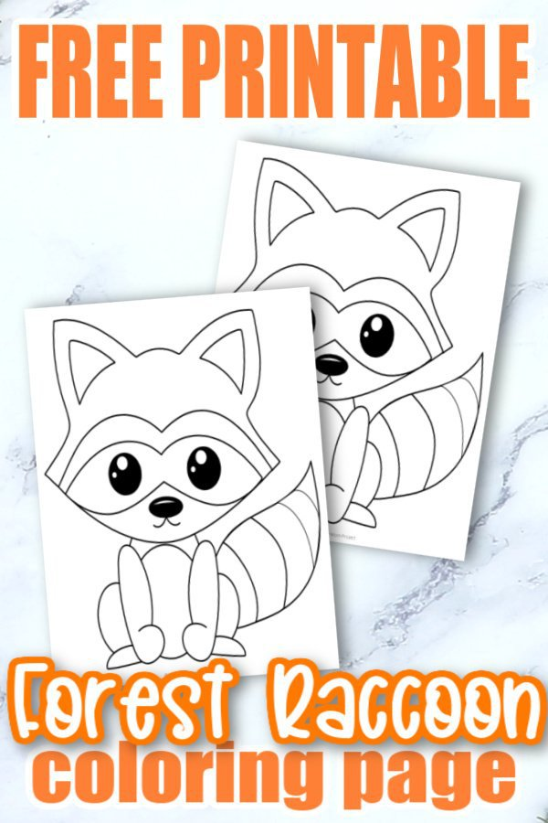 Free Printable Woodland Forest Raccoon Coloring Page for Kids Preschoolers Toddlers and kindergartners