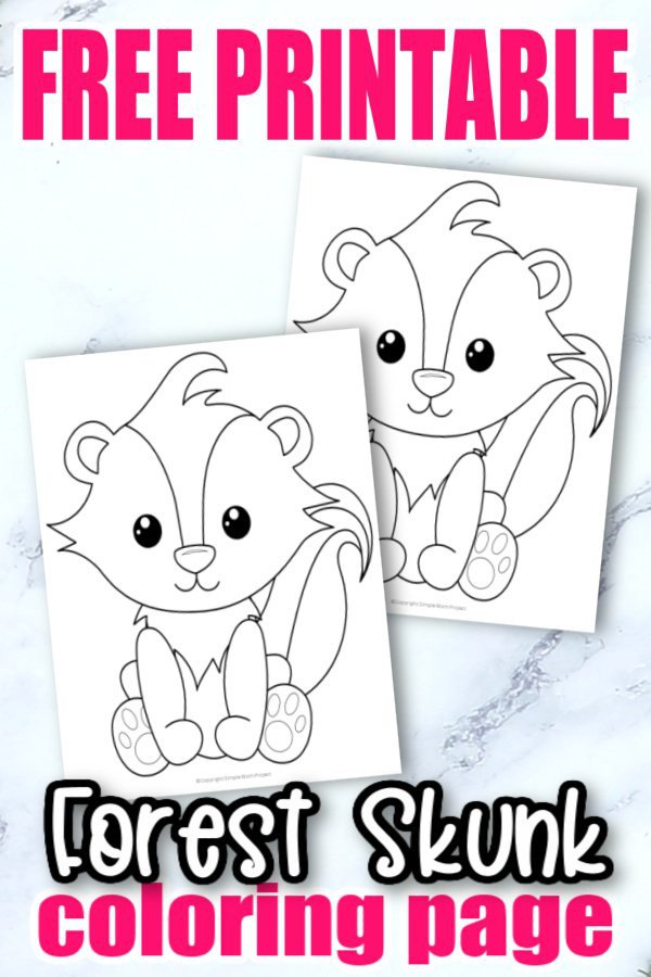 Free Printable Woodland Forest Skunk Coloring Page for Kids Preschoolers Toddlers and kindergartners