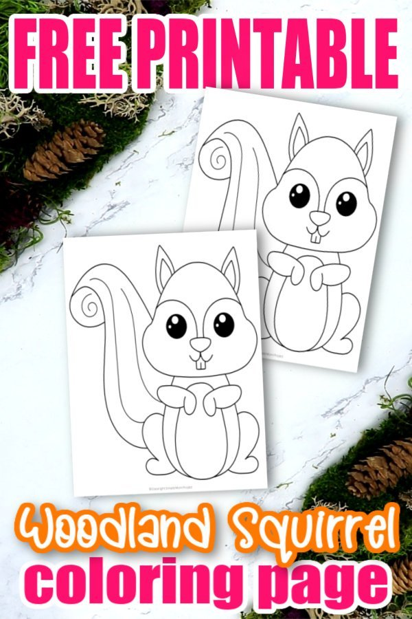 Free Printable Woodland Squirrel Coloring Page Simple Mom Project