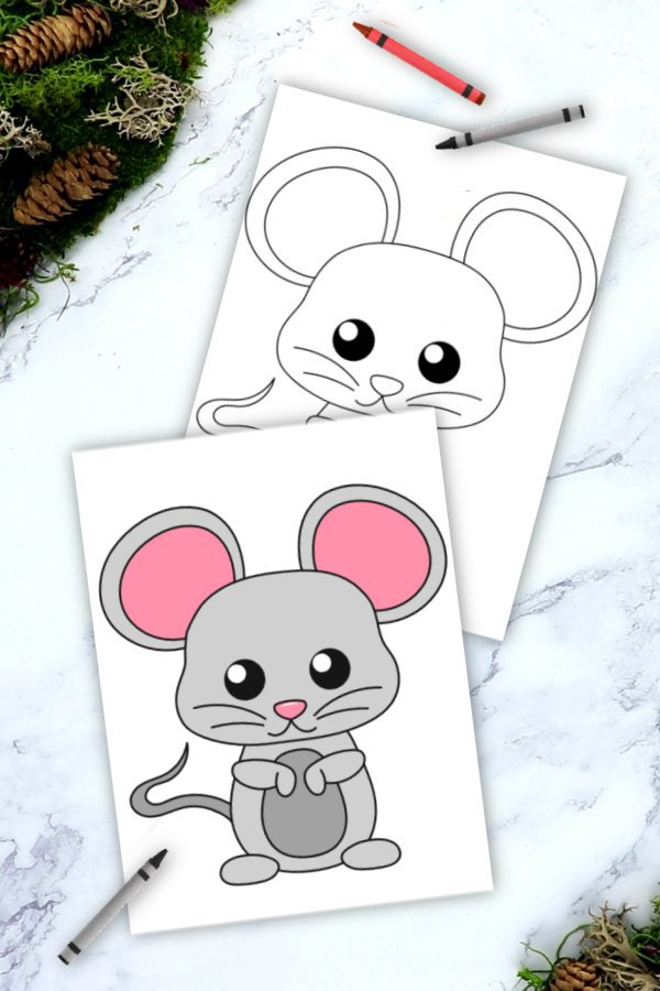 Free Printable Woodland Forest mouse Coloring Page for Kids Preschoolers Toddlers and kindergartners