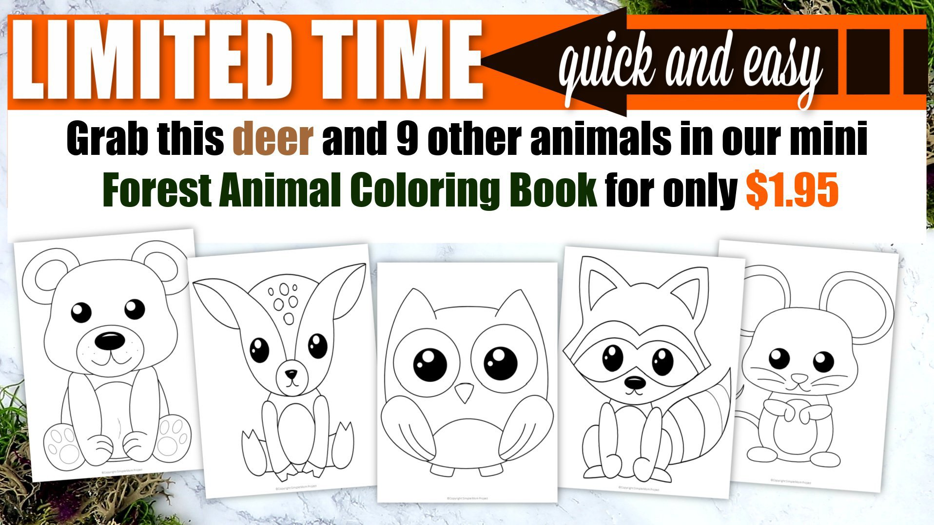 Printable Woodland Forest deer Coloring Page for Kids Preschoolers Toddlers and kindergartners