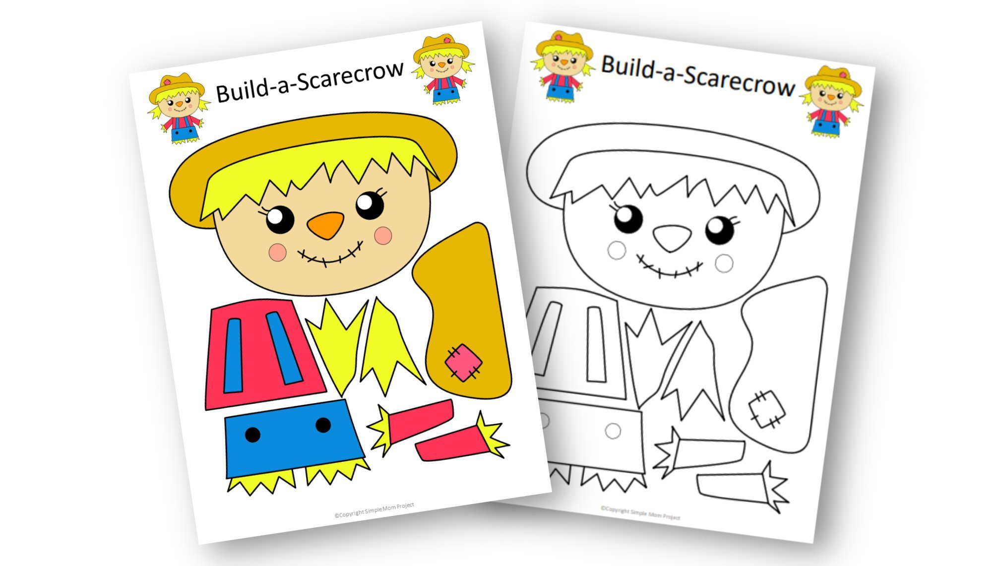 Free Printable Girl Scarecrow Craft for kids, preschoolers, kindergartners and toddlers