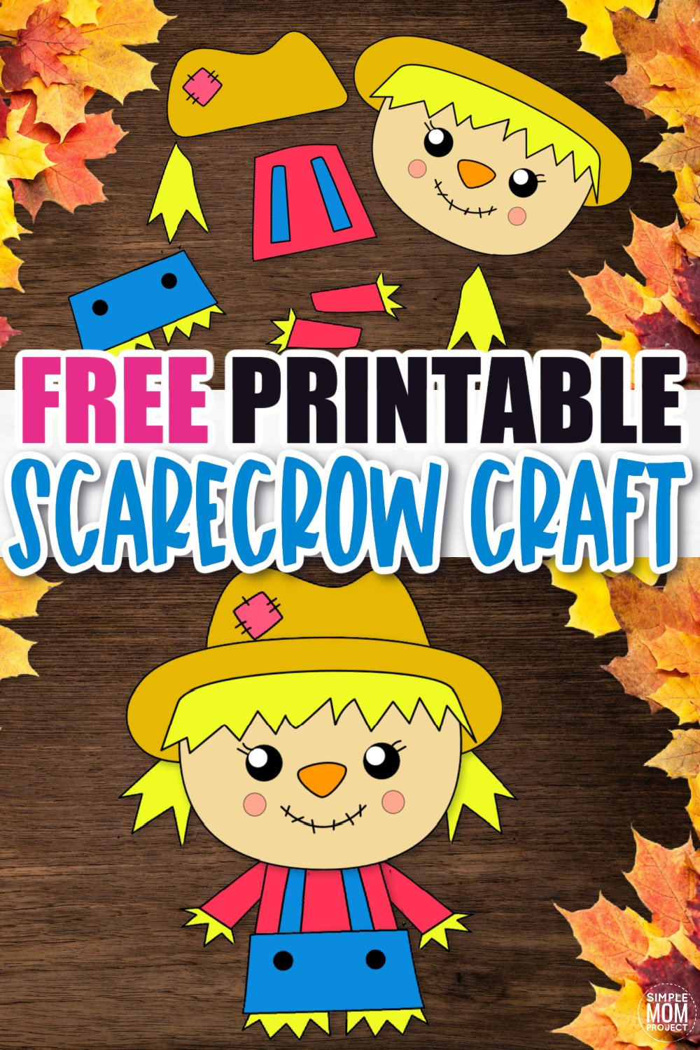 Are you looking for an easy printable fall craft to do with your kids this autumn? Click and get the free printable girl scarecrow template to make this fun girl scarecrow craft. The girl scarecrow can be turned into a popsicle scarecrow or scarecrow paper bag puppet or a fun fall craft decoration. Either way, kids of all ages, preschoolers, toddlers and kindergartners will love making their very own scarecrow craft! #girlscarecrow #scarecrowcrafts #Fall #FallCrafts #SimpleMomProject
