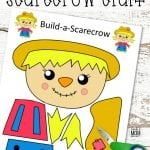 Are you looking for an easy printable fall craft to do with your kids this autumn? Click and get the free printable girl scarecrow template to make this fun girl scarecrow craft. The girl scarecrow can be turned into a popsicle or paper bag puppet or a fun fall craft decoration. Either way, kids of all ages, preschoolers, toddlers and kindergartners will love making their very own scarecrow craft! #girlscarecrow #scarecrowcrafts #Fall #FallCrafts #SimpleMomProject