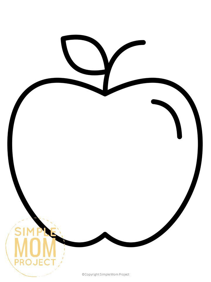 Free Printable Large Apple Template for Fall Crafts, Autumn Apple Crafts, Teacher Appreciation Crafts