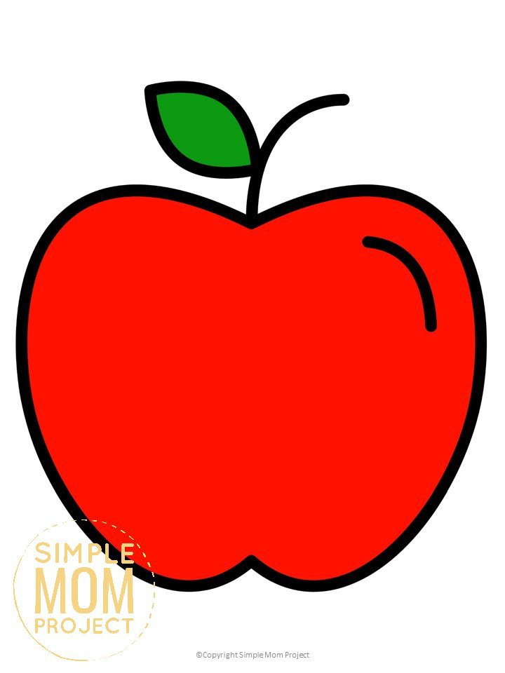 Free Printable Large Red Apple Template for Fall Crafts, Autumn Apple Crafts, Teacher Appreciation Crafts