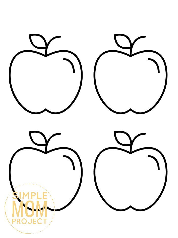 Free Printable Medium Apple Template for Fall Crafts, Autumn Apple Crafts, Teacher Appreciation Crafts