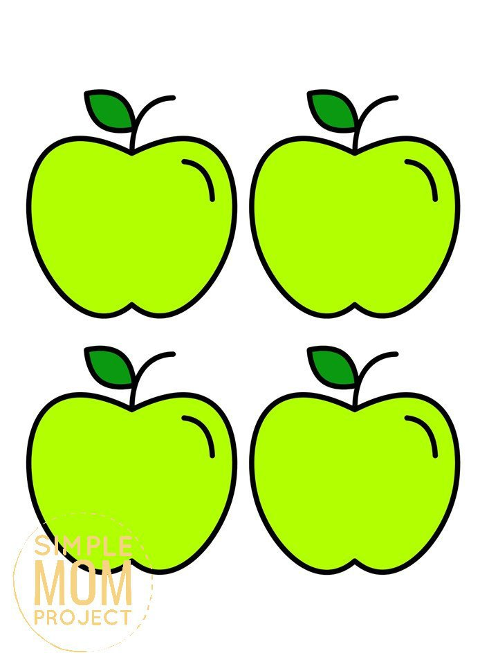 Free Printable Medium Green Apple Template for Fall Crafts, Autumn Apple Crafts, Teacher Appreciation Crafts