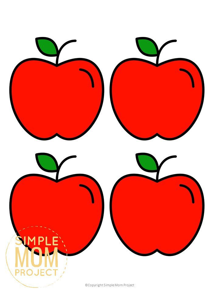 Free Printable Medium Red Apple Template for Fall Crafts, Autumn Apple Crafts, Teacher Appreciation Crafts