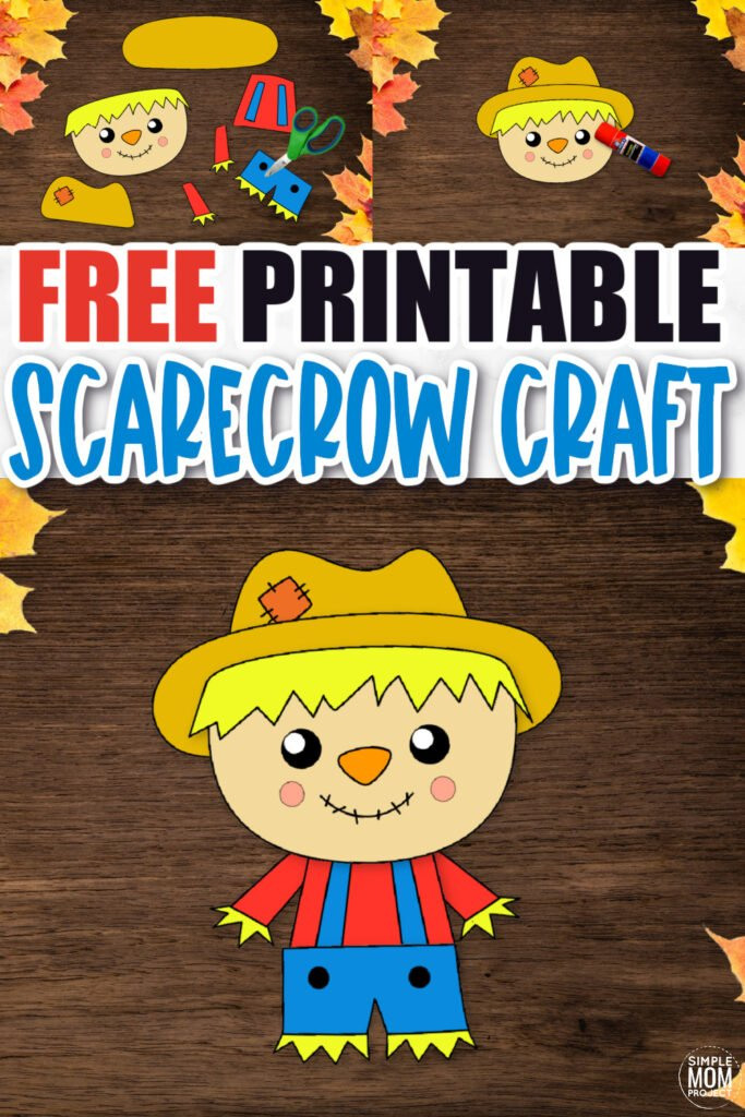 Are you looking for a simple autumn theme craft to do with your preschool, kindergarten or first grade class? Click now to download and print our diy scarecrow craft! You can glue it on a Popsicle stick or paper bag to turn this scarecrow craft into a fun puppet. Your kids will love the cutout scarecrow craft!