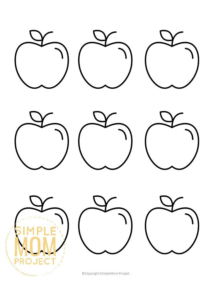 Free Printable Small Apple Template for Fall Crafts, Autumn Apple Crafts, Teacher Appreciation Crafts