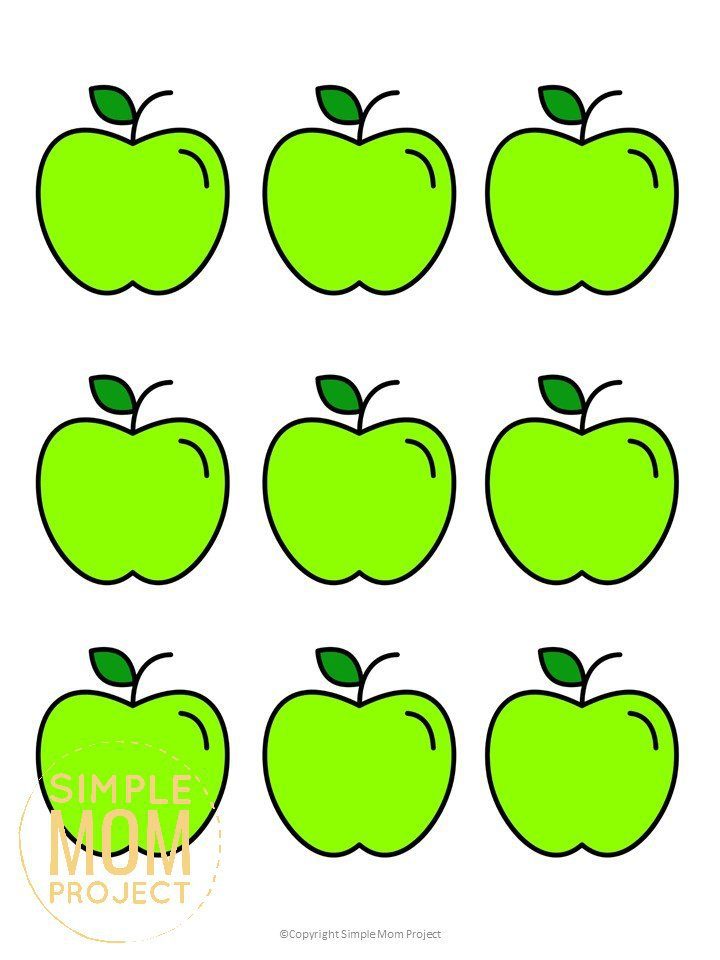 Free Printable Small Green Apple Template for Fall Crafts, Autumn Apple Crafts, Teacher Appreciation Crafts