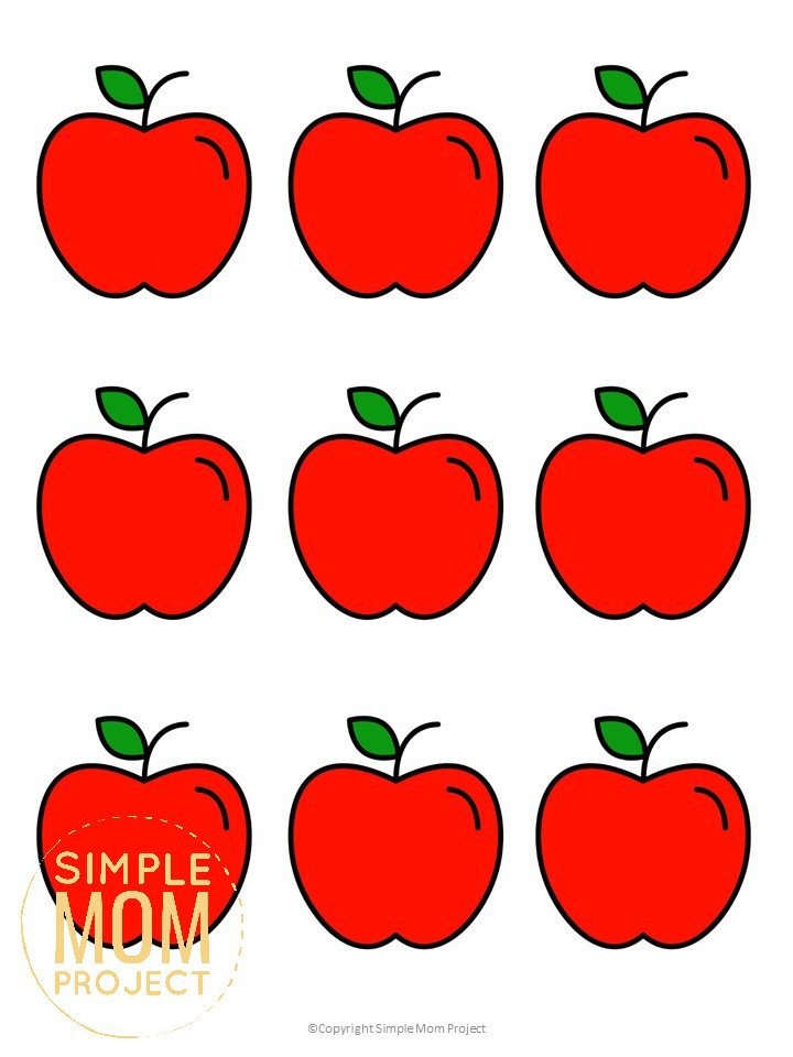 Free Printable Small Red Apple Template for Fall Crafts, Autumn Apple Crafts, Teacher Appreciation Crafts