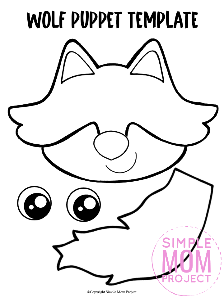 """Are you looking for a fun printable wolf template to make a hand puppet for preschoolers? Click now to download and print the paper bag wolf puppet template for free! This wolf paper bag puppet is the perfect way to put on a Little Red Riding Hood Puppet show! This wolf paper bag puppet craft is perfect for kids of all ages including preschoolers and toddlers."""""""