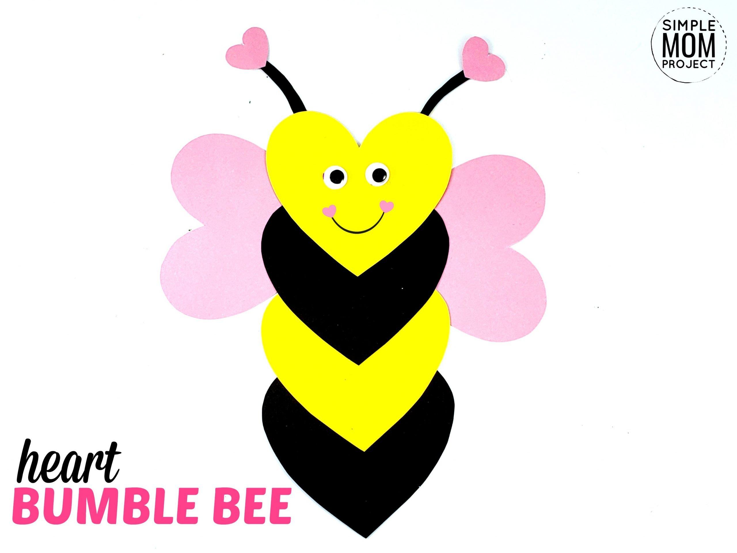 Free Printable Heart Bumblebee Craft for Preschoolers toddlers and kindergartners