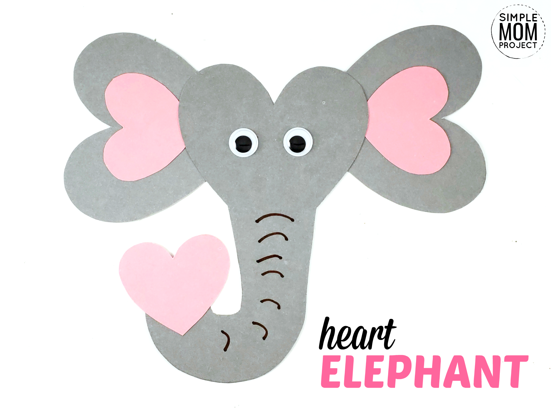 Free printable heart elephant craft template for kids preschoolers toddlers CK