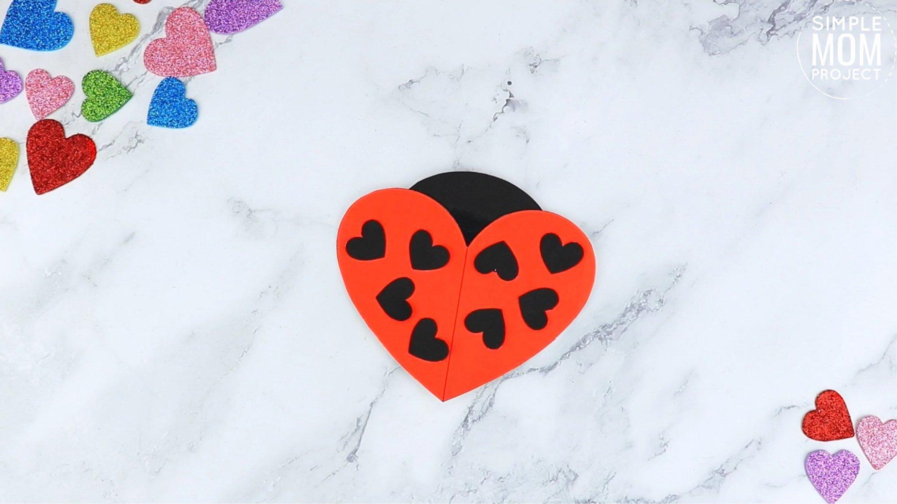 Easy Printable Diy Heart Lady Bug Craft for Preschool, toddler, kindergarten