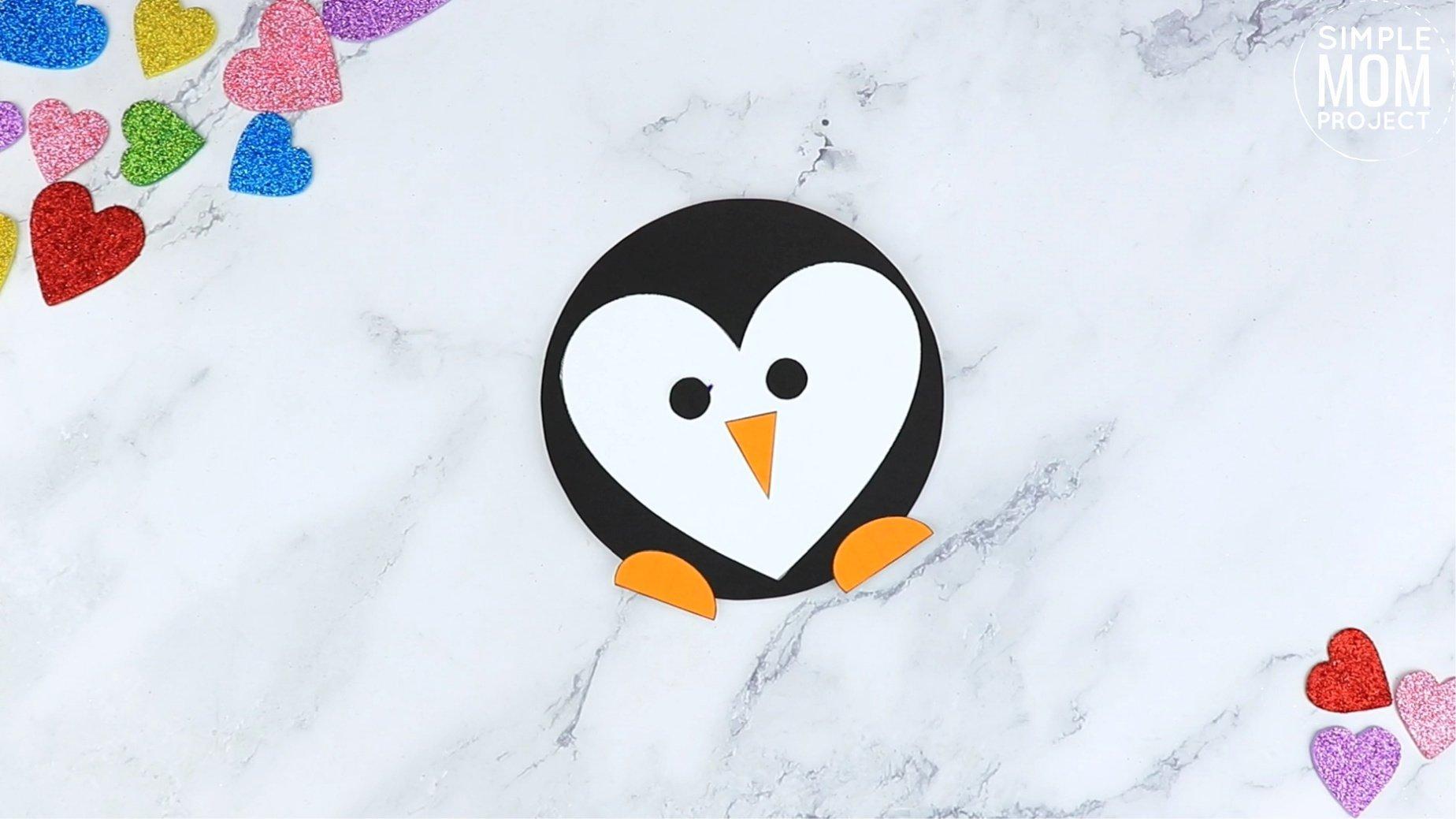 Easy Printable Diy Heart Penguin Craft for Preschool, toddler, kindergarten
