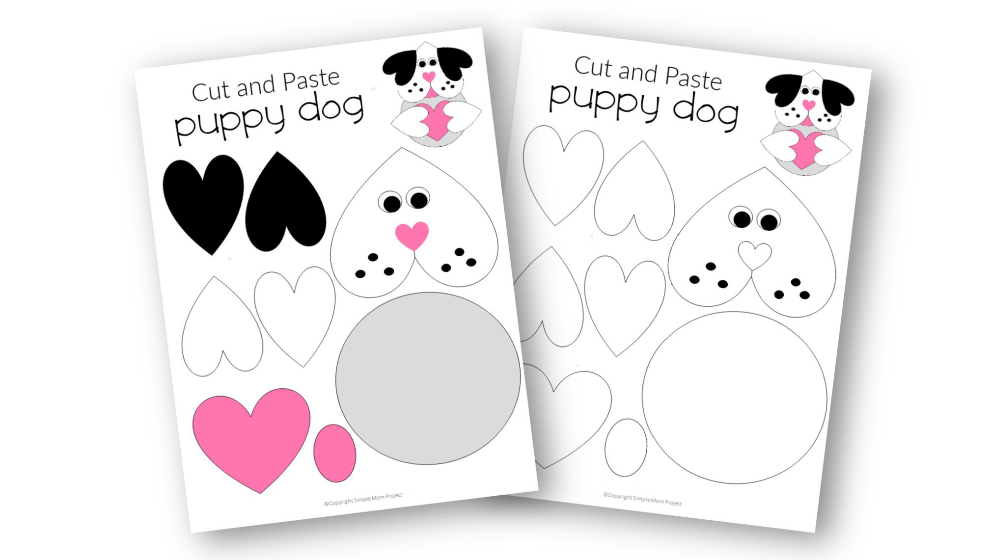 Easy Printable Diy Puppy Dog Craft for Preschool, toddler, kindergarten