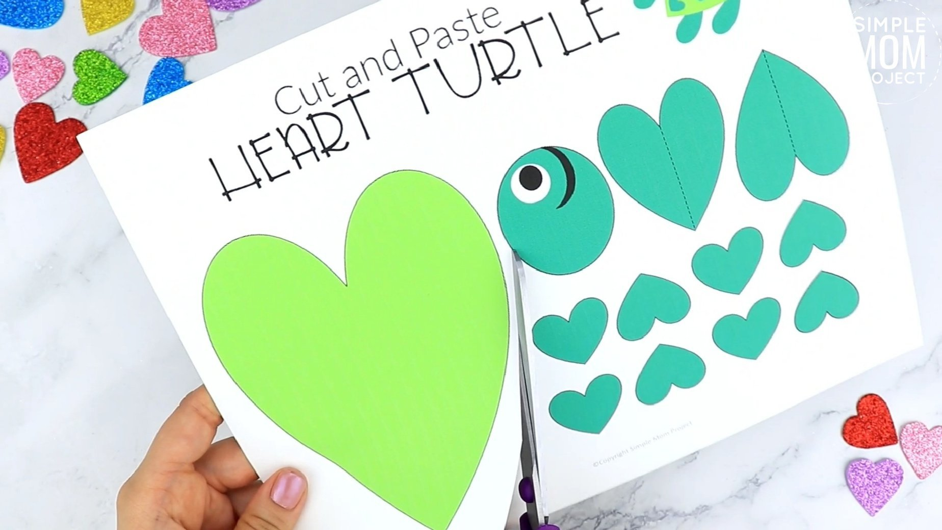 Easy Printable Diy Heart Turtle Craft for Preschool, toddler, kindergarten