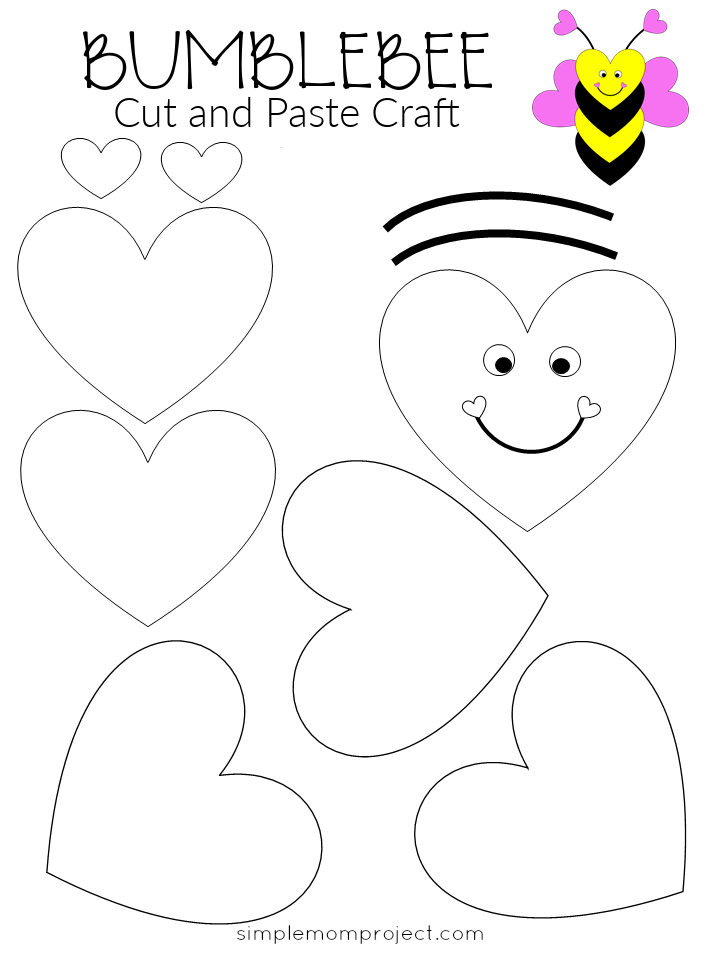 Free Printable Heart Bumblebee Craft for Preschoolers toddlers and kindergartners