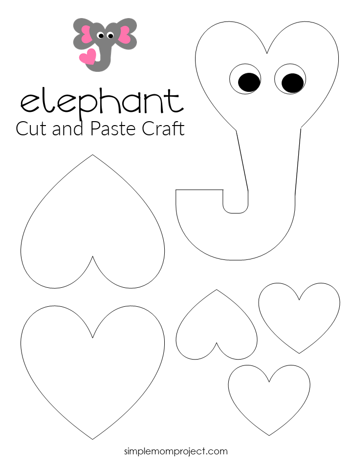 Free Printable Heart Elephant Craft for Preschoolers toddlers and kindergartners bw