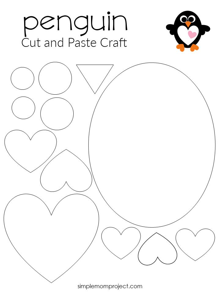 Free Printable Heart Penguin Craft for Preschoolers toddlers and kindergartners