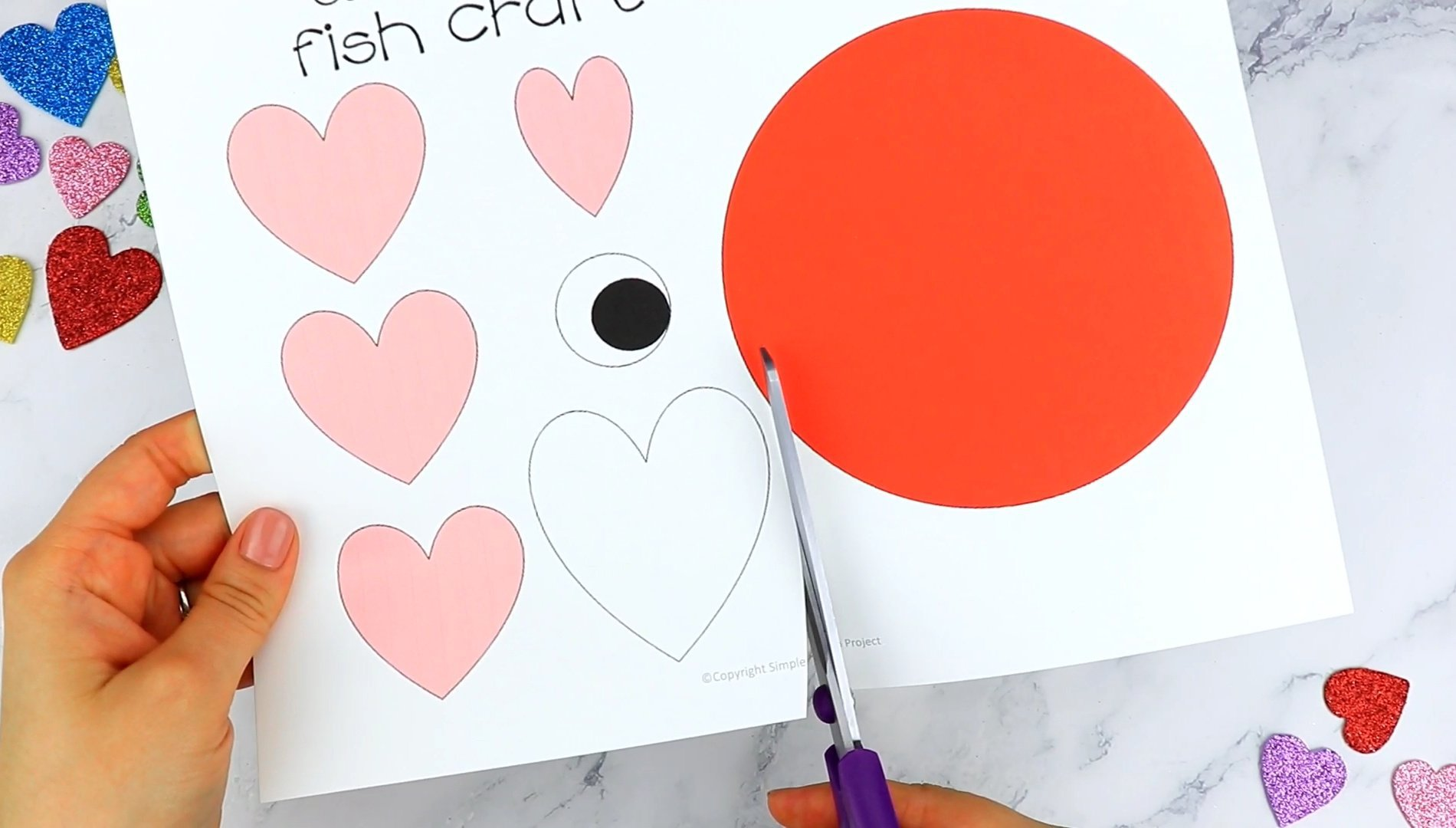 Free Printable Heart Fish Craft for Preschoolers toddlers and kindergartners