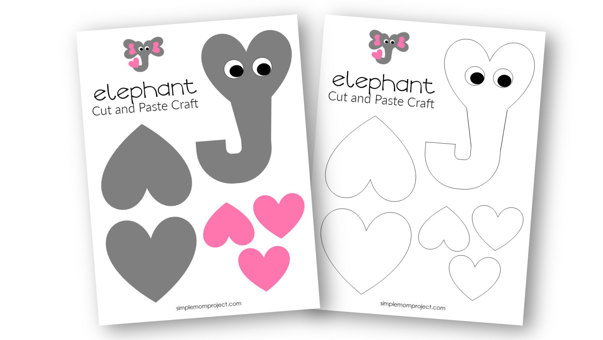 Free Printable Heart Elephant Craft for Preschoolers toddlers and kindergartners