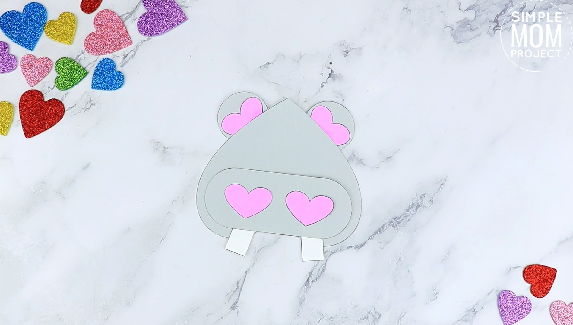 Free Printable Heart Hippo Craft for Preschoolers toddlers and kindergartners