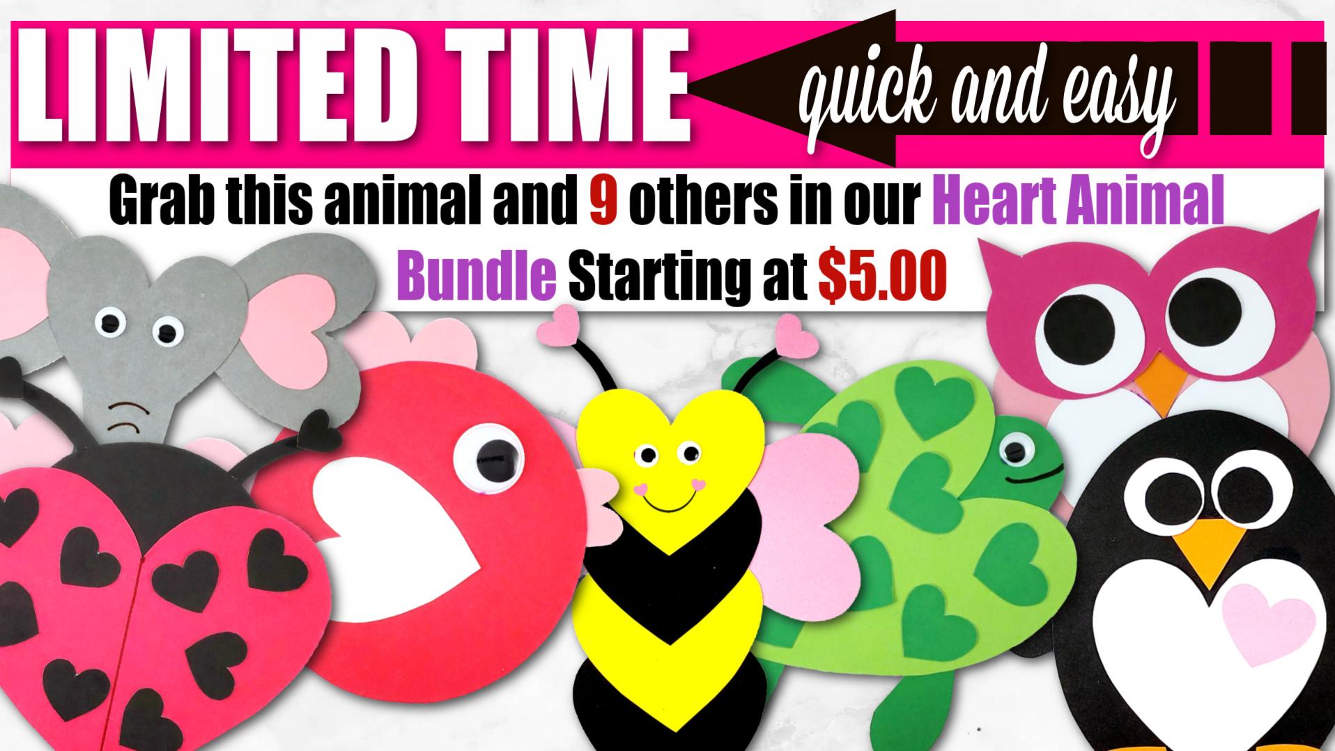 Printable heart Animal Crafts for Kids Preschoolers, toddlers and Kindergartners
