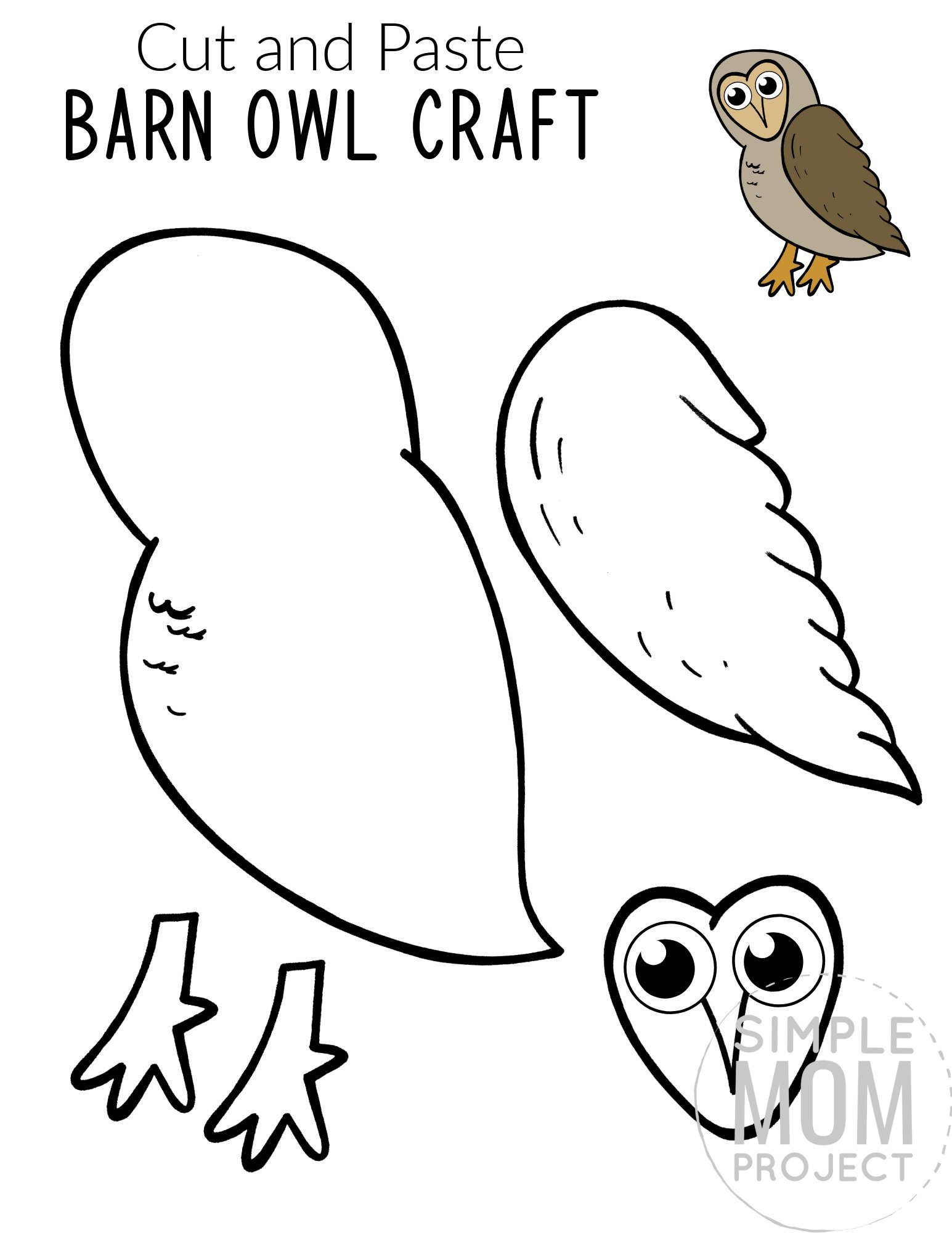 Free Printable Barn Owl Craft for Kids, preschoolers toddlers and kindergartners