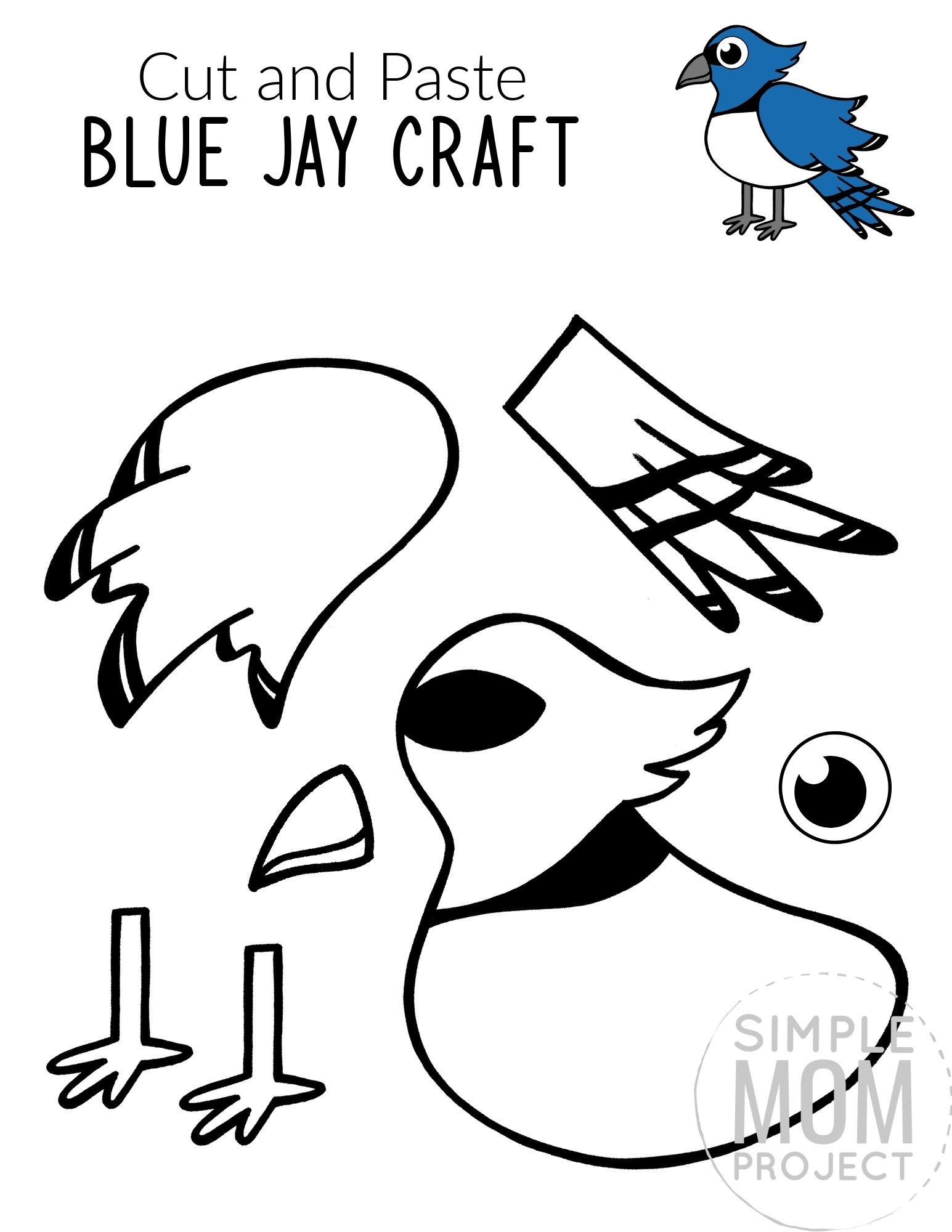 Free Printable Blue Jay Craft for Kids, preschoolers toddlers and kindergartners