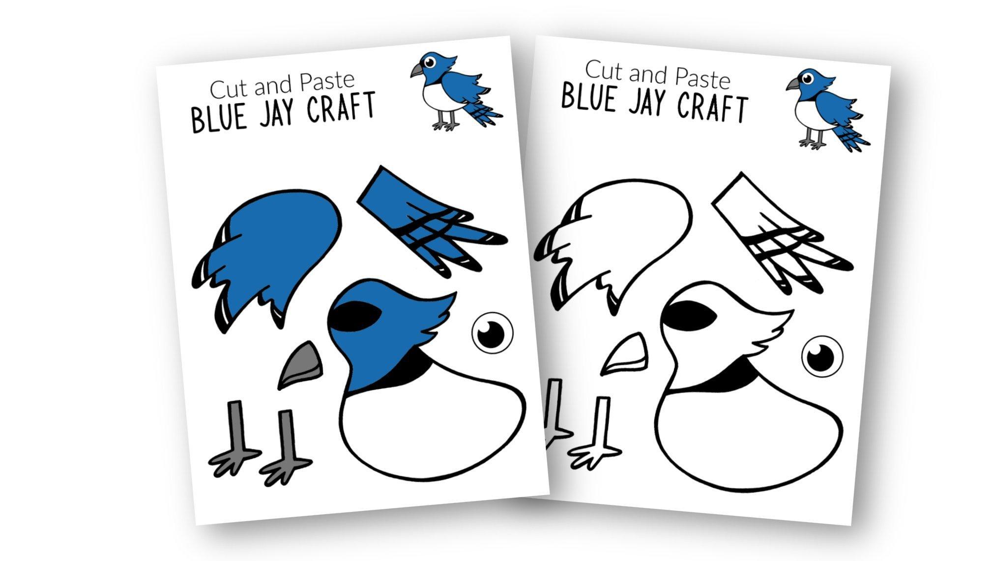 Free Printable Blue Jay Craft for Kids, preschoolers toddlers and kindergartners