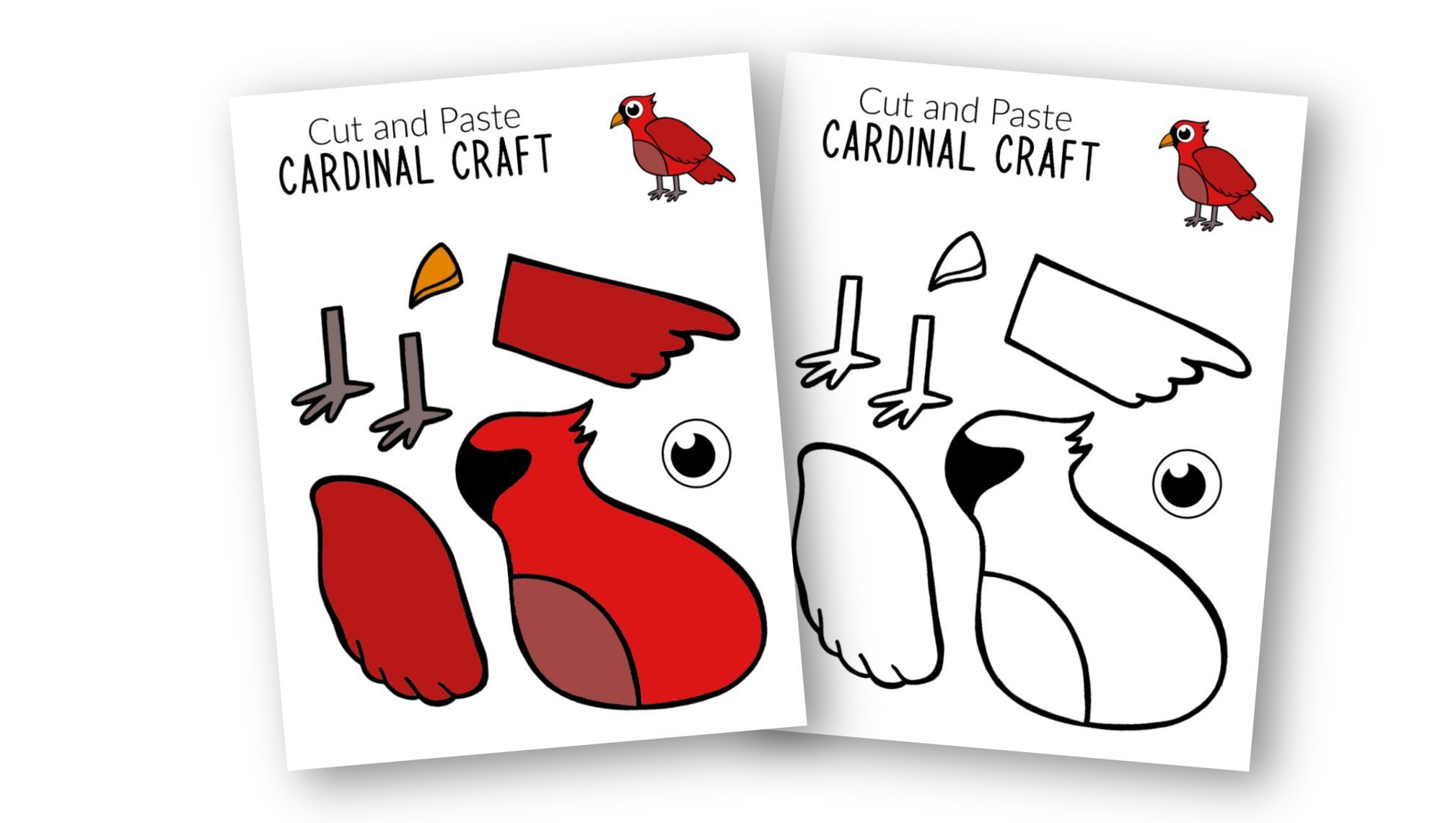 Free Printable Cardinal Craft for Kids, preschoolers toddlers and kindergartners