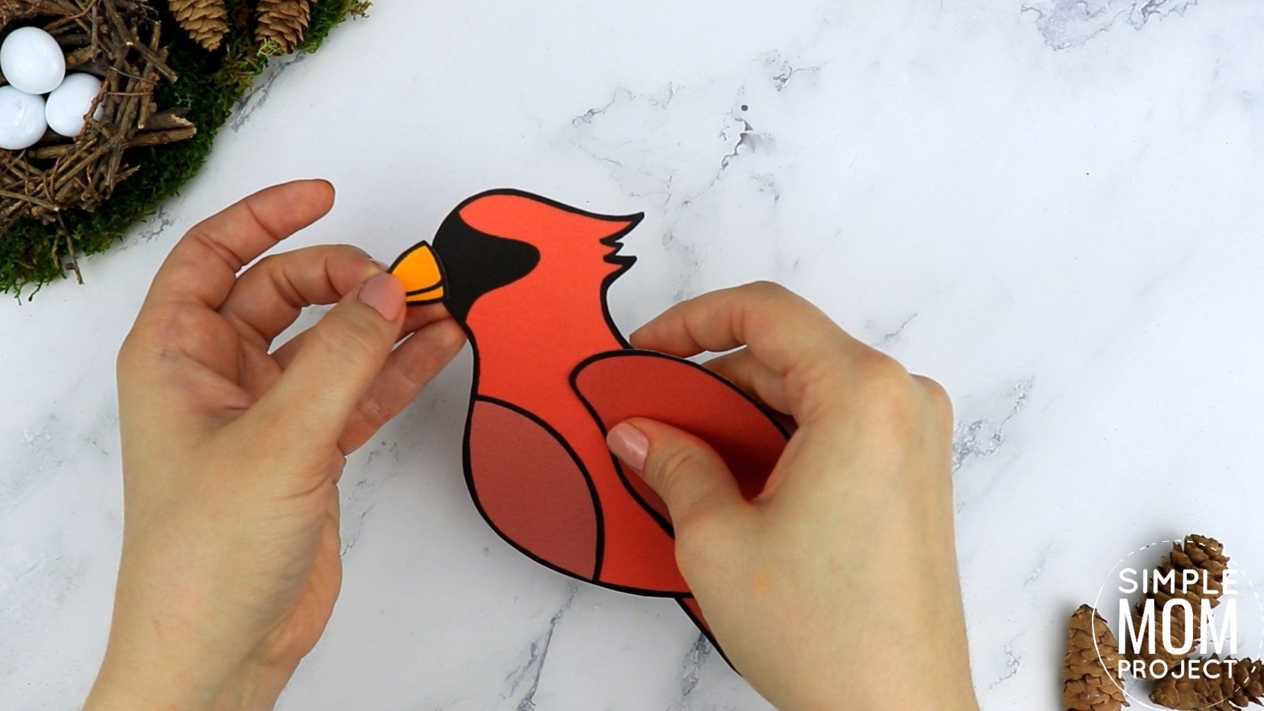 Free Printable Cardinal Craft for Kids, preschoolers toddlers and kindergartners