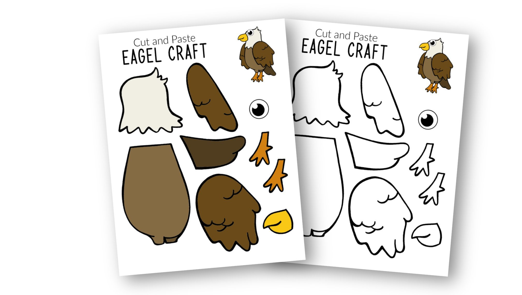 Free Printable Eagle Craft for Kids, preschoolers toddlers and kindergartners