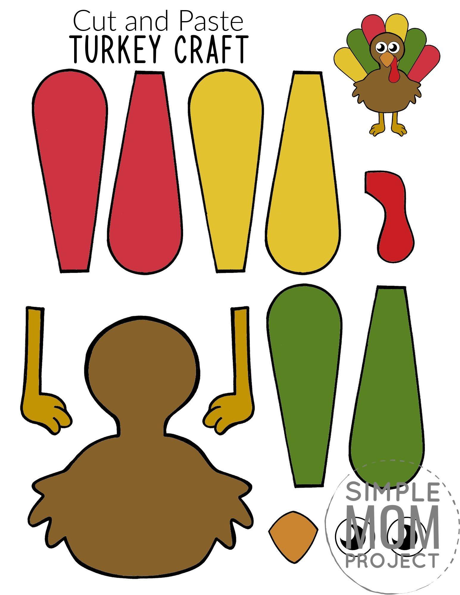 Printable Turkey Craft for Kids, preschoolers toddlers and kindergartners