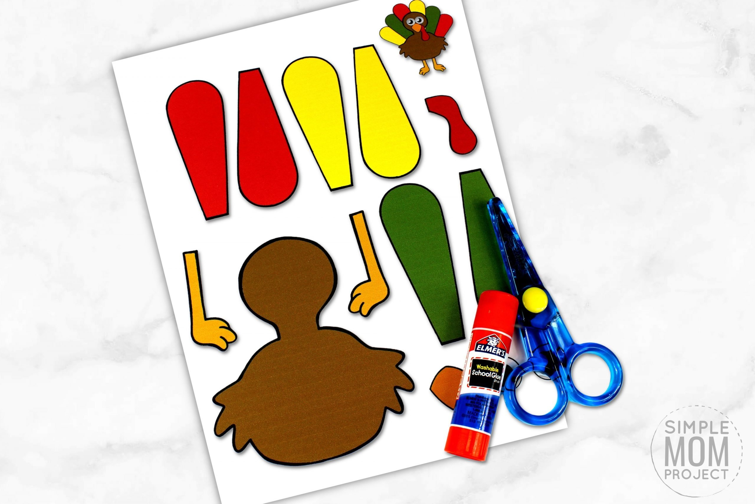 Free Printable Turkey Craft for Kids, preschoolers toddlers and kindergartners