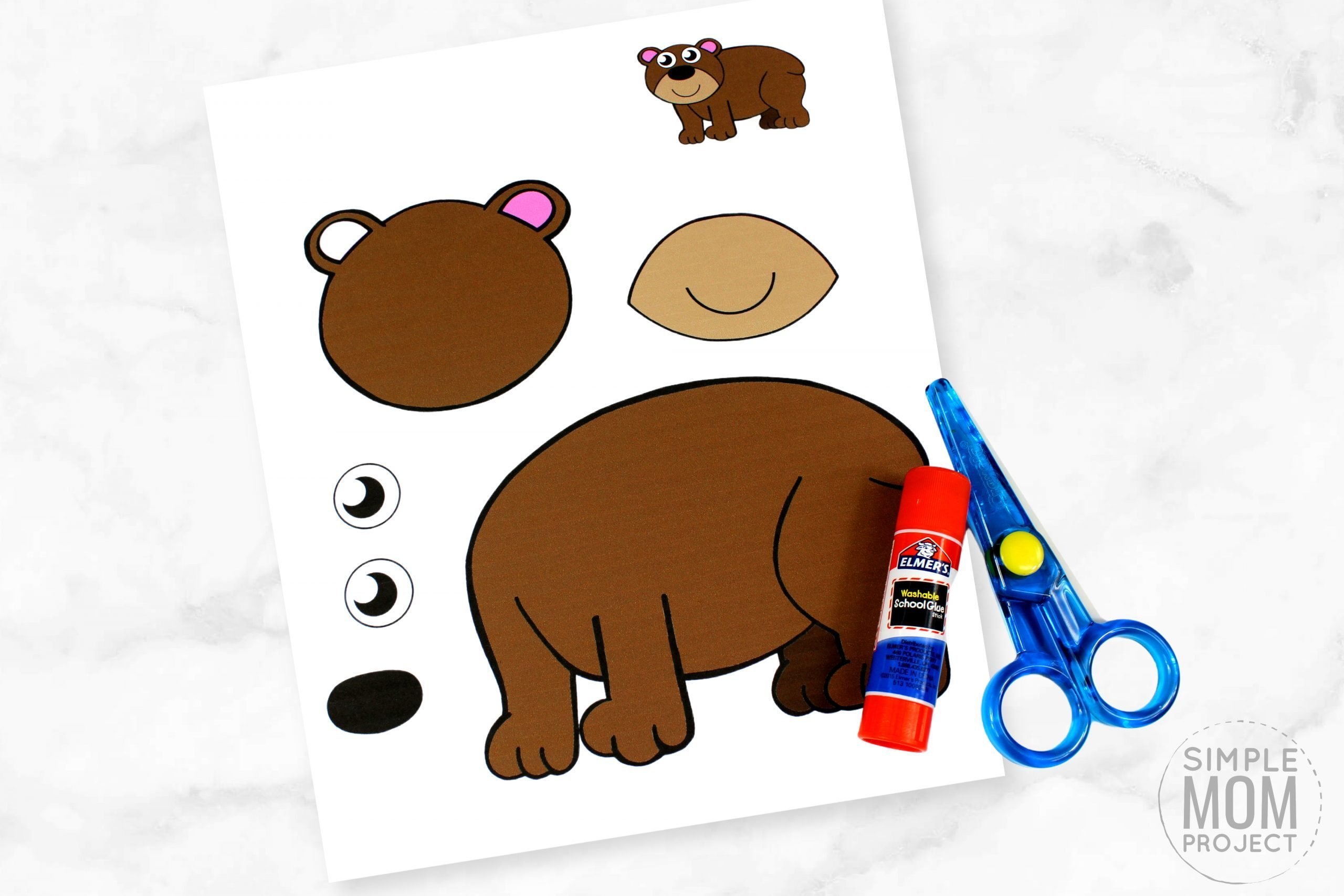 Free Printable Winter Brown Bear Craft for Kids, preschoolers, toddlers and kindergartners