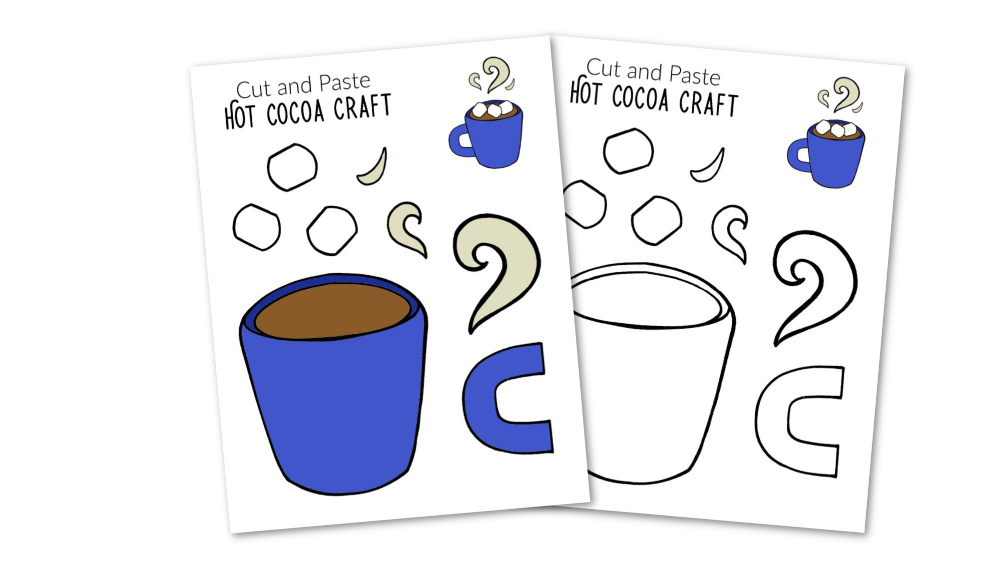 Free Printable Winter Hot cocoa Craft for Kids, preschoolers, toddlers and kindergartners