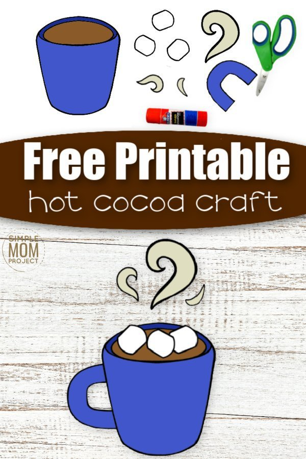 Winter is the perfect time to enjoy a hot cocoa with your kids - now you can go one better! Here's a super fun cut and paste Hot Cocoa craft - so now your preschoolers, toddlers, kindergartners or even big kids can sharpen their scissor skills and create a cute Hot Cocoa craft. Use it as a card for a special friend or decorations for the fridge, this diy paper craft is simple to create, so get your template today! #cutandpastecrafts #Hotcocoacrafts