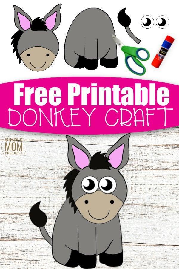 Free Printable donkey Craft for Kids, preschoolers, toddlers and kindergartners