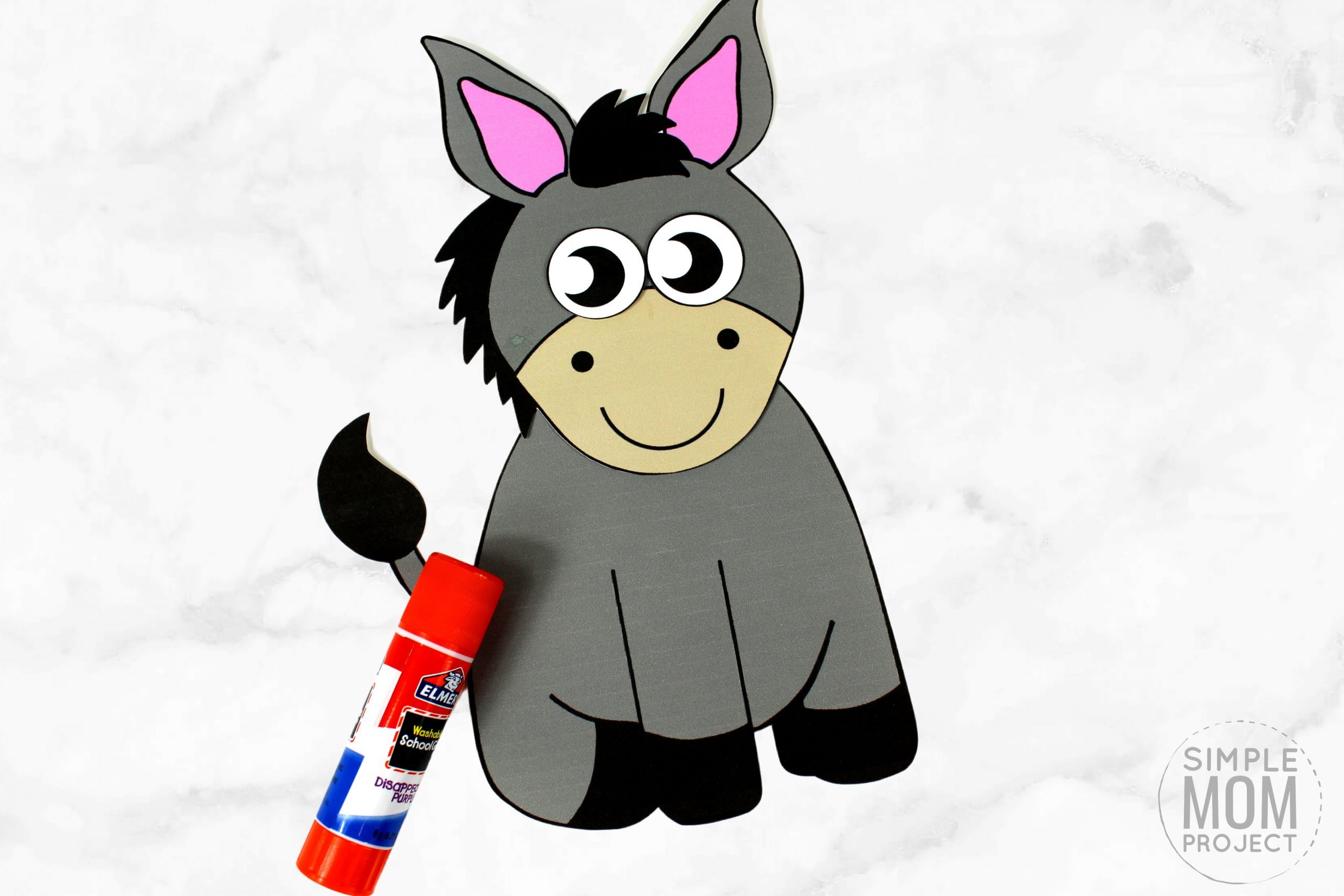 Free Printable donkey Craft for Kids, preschoolers, toddlers and kindergartners