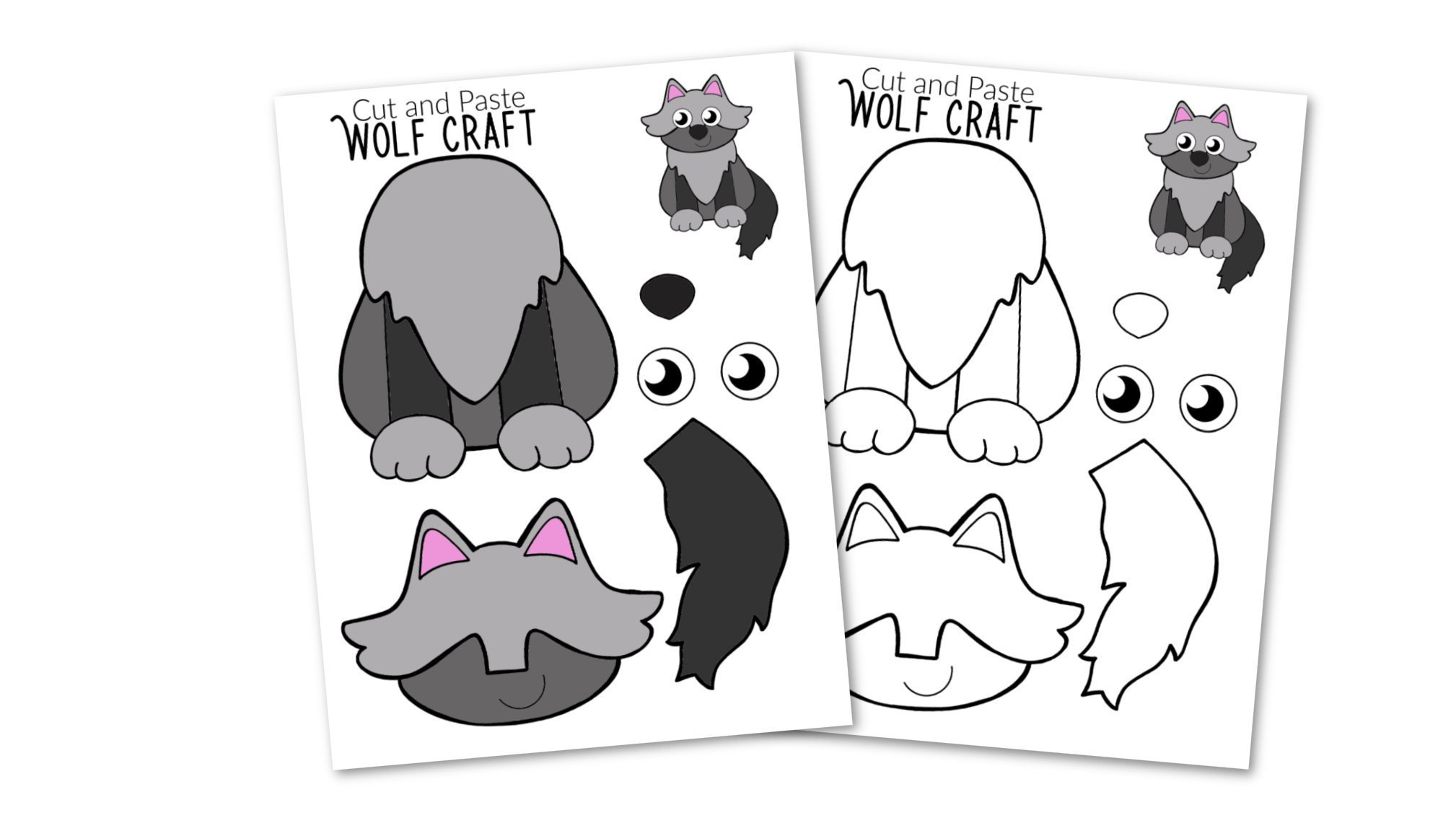 Free Printable wolf Craft for Kids, preschoolers, toddlers and kindergartners