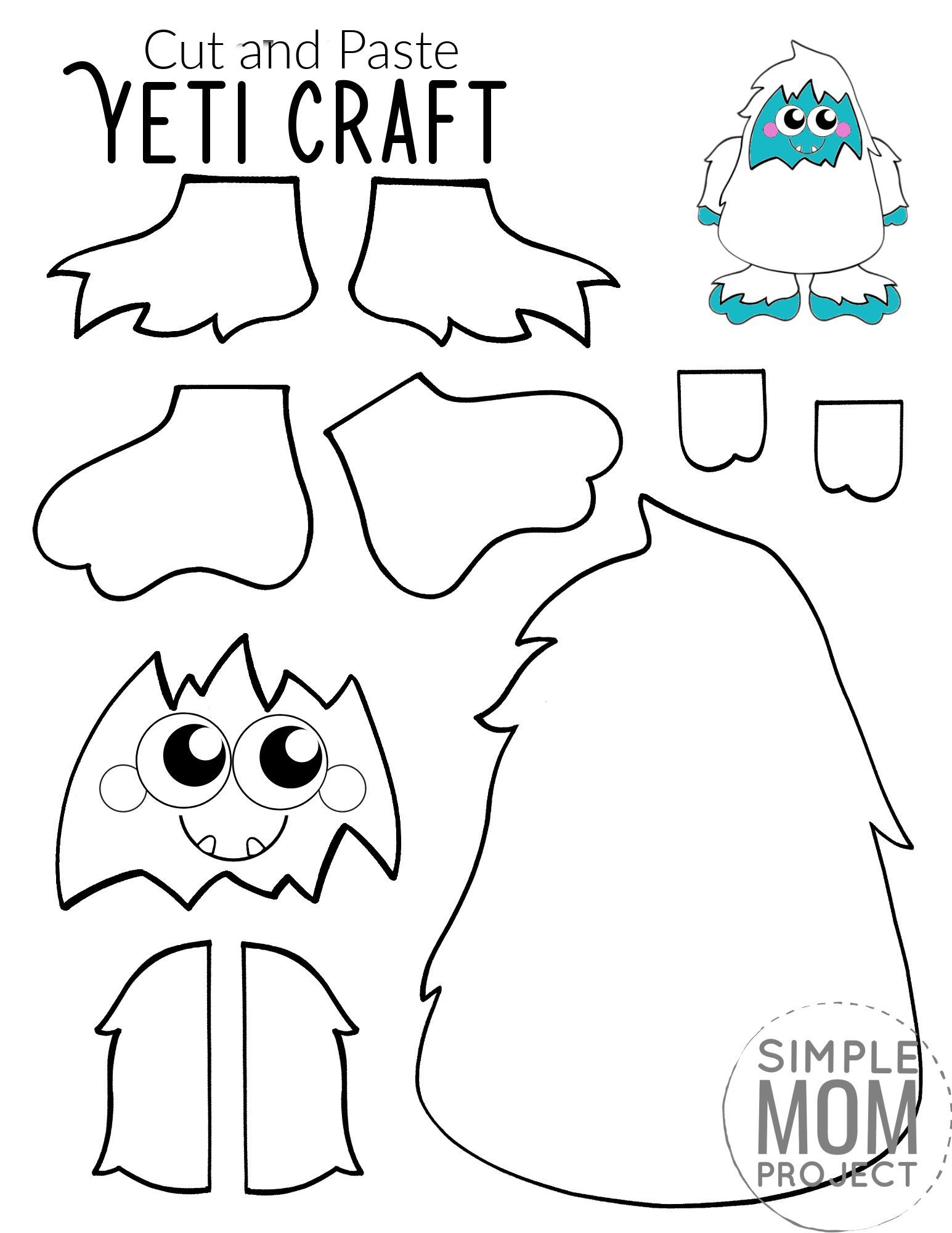 Free Printable yeti Craft for Kids, preschoolers, toddlers and kindergartners 3