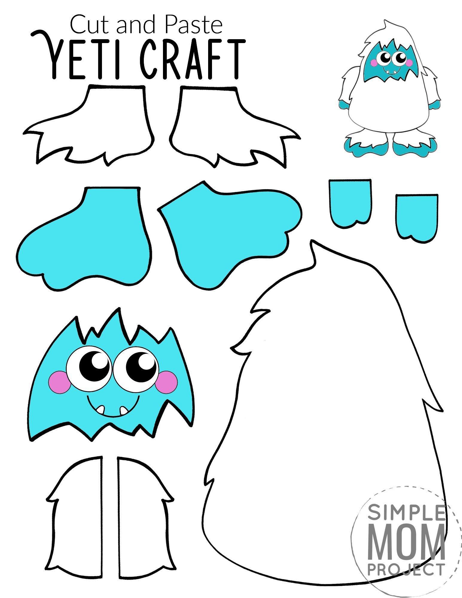 Free Printable yeti Craft for Kids, preschoolers, toddlers and kindergartners