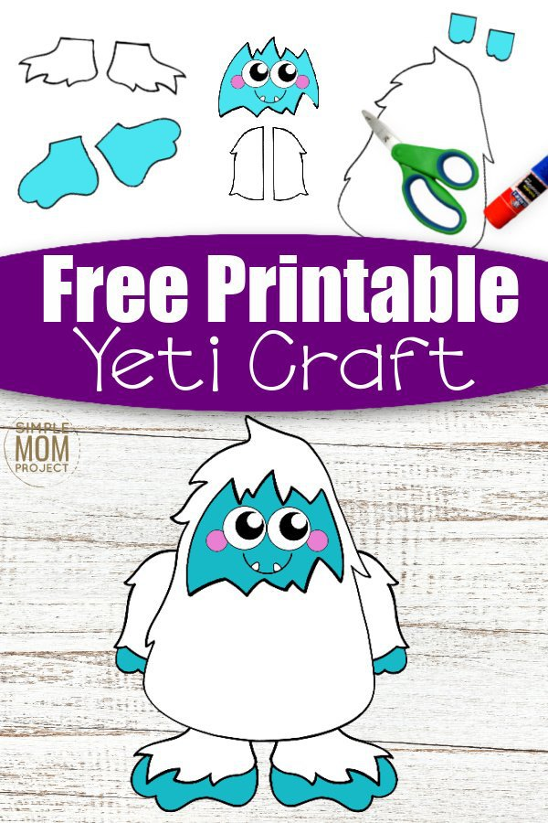 Free Printable yeti Craft for Kids, preschoolers, toddlers and kindergartners