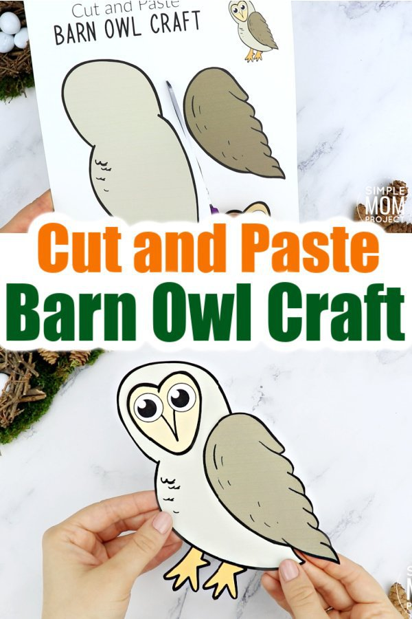 Printable Cut and Paste Barn Owl Craft for Kids, preschoolers toddlers and kindergartners 10